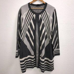 NWOT Isaac Mizrahi Live Grey Long Cardigan Size 3X